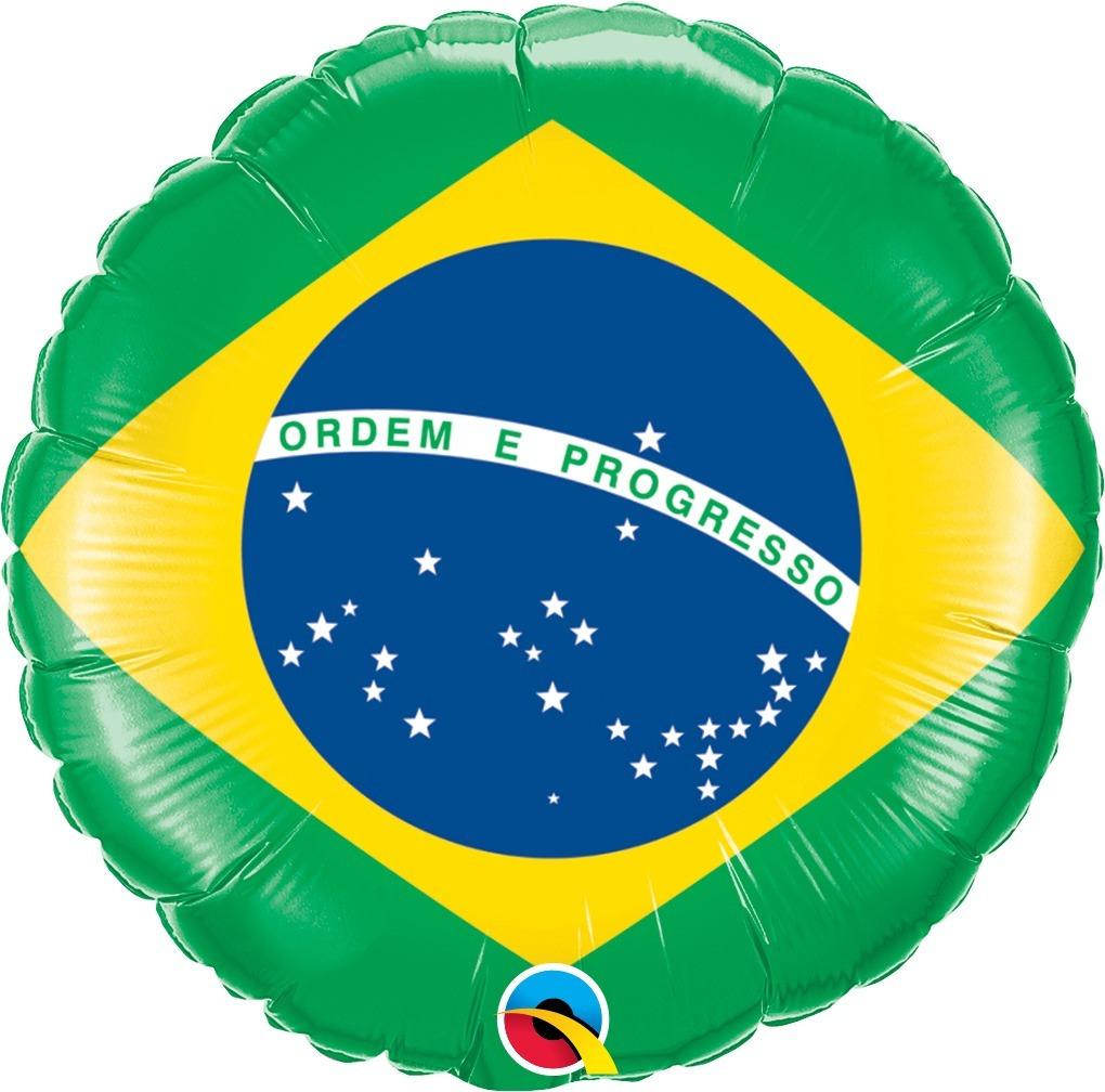 BALÃO METALIZADO REDONDO BANDEIRA DO BRASIL - 18 POLEGADAS - QUALATEX #74662