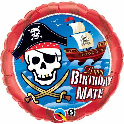 BALÃO METALIZADO REDONDO BIRTHADY MATE PIRATE SHIP  - 18 POLEGADAS - QUALATEX #11767
