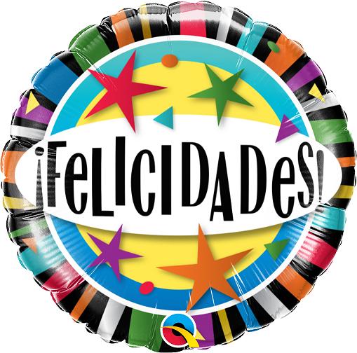 BALÃO METALIZADO REDONDO FELICIDADES ESTRELAS  - 18 POLEGADAS - QUALATEX #55815