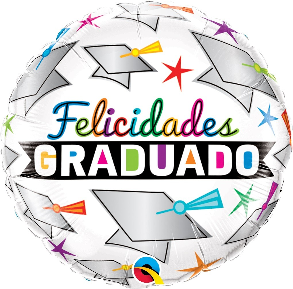 BALÃO METALIZADO REDONDO FELICIDADES GRADUADOS  - 18 POLEGADAS - QUALATEX #47533