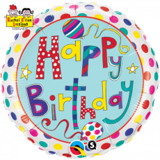 BALÃO METALIZADO REDONDO HAPPY BIRTHDAY POLKA DOTS & STRIPES - 18 POLEGADAS - QUALATEX #50404