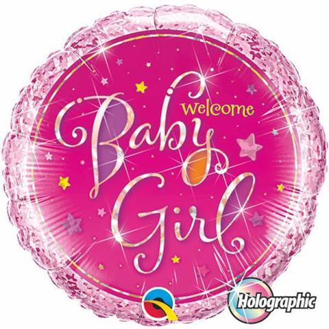 BALÃO METALIZADO REDONDO HOLOGRAPHIC WELCOME BABY GIRL STARS - 18 POLEGADAS - QUALATEX #35316