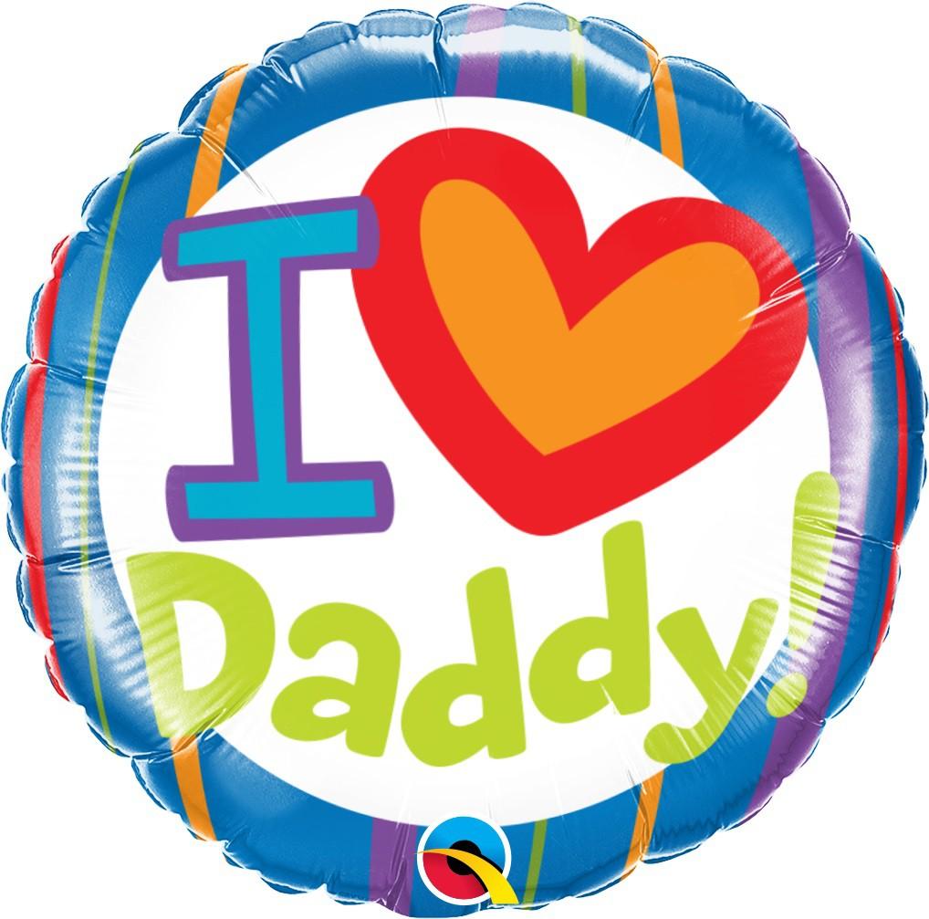 BALÃO METALIZADO REDONDO I LOVE DADDY 18 POLEGADAS - QUALATEX  #55821