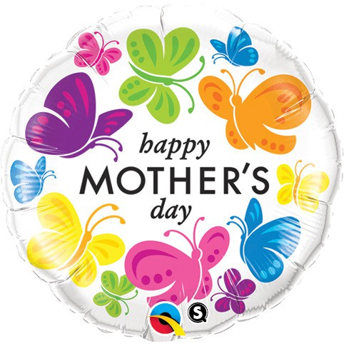 BALÃO METALIZADO REDONDO - MOTHERS DAY VIVID BUTTERFLIES  - 18 POLEGADAS - QUALATEX  #91848