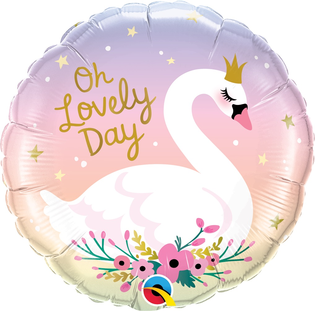 BALÃO METALIZADO REDONDO OH LOVELY DAY CISNE - 18 POLEGADAS - QUALATEX #10371