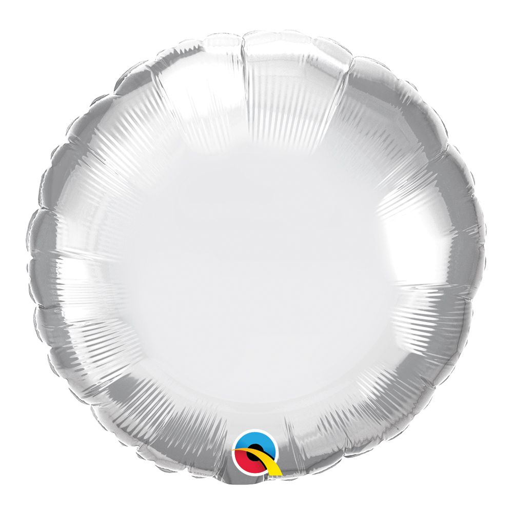 BALÃO METALIZADO REDONDO PRATA CHROME  - 18 POLEGADAS - QUALATEX