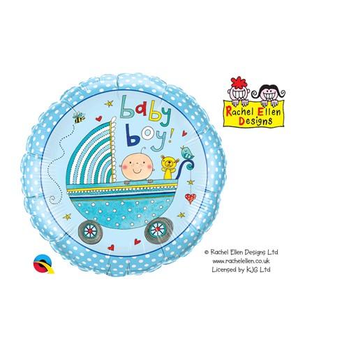 BALÃO METALIZADO REDONDO RACHEL ELLEN - BABY BOY STROLLER - 18 POLEGADAS - QUALATEX #50253