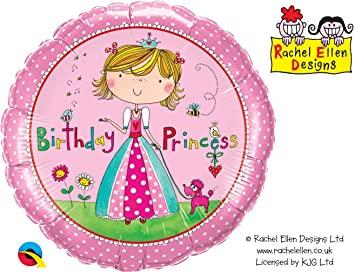 BALÃO METALIZADO REDONDO RACHEL ELLEN - BIRTHDAY PRINCESS  - 18 POLEGADAS - QUALATEX  #51167
