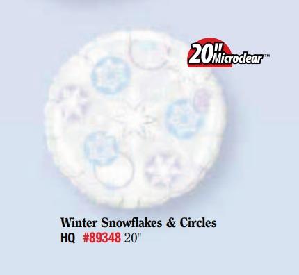 BALÃO METALIZADO REDONDO - WINTER SNOW FLAKES & CIRCLES  - 20 POLEGADAS - QUALATEX  #89348