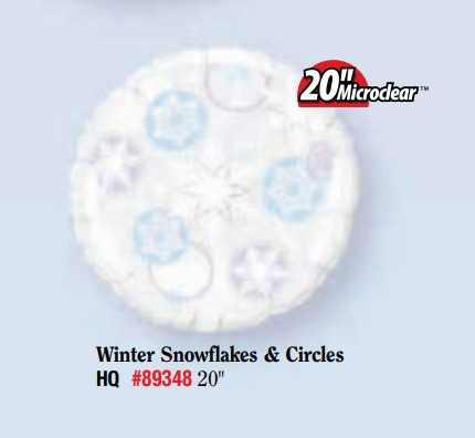 BALÃO METALIZADO REDONDO - WINTER SNOW FLAKES & CIRCLES  - 20 POLEGADAS - QUALATEX  #89348