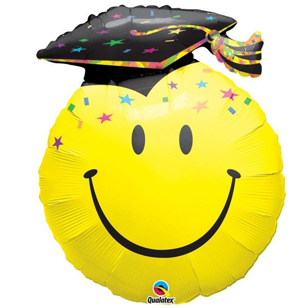 BALÃO METALIZADO SMILE FACE PARTY GRAD - 14 POLEGADAS - QUALATEX #99855