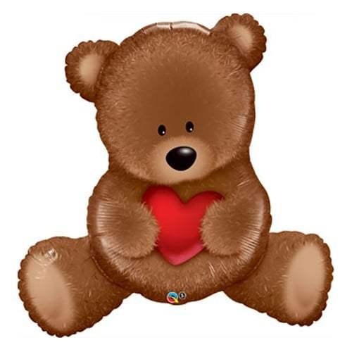 BALÃO METALIZADO - TEDDY BEAR LOVE - 35 POLEGADAS - QUALATEX #98705