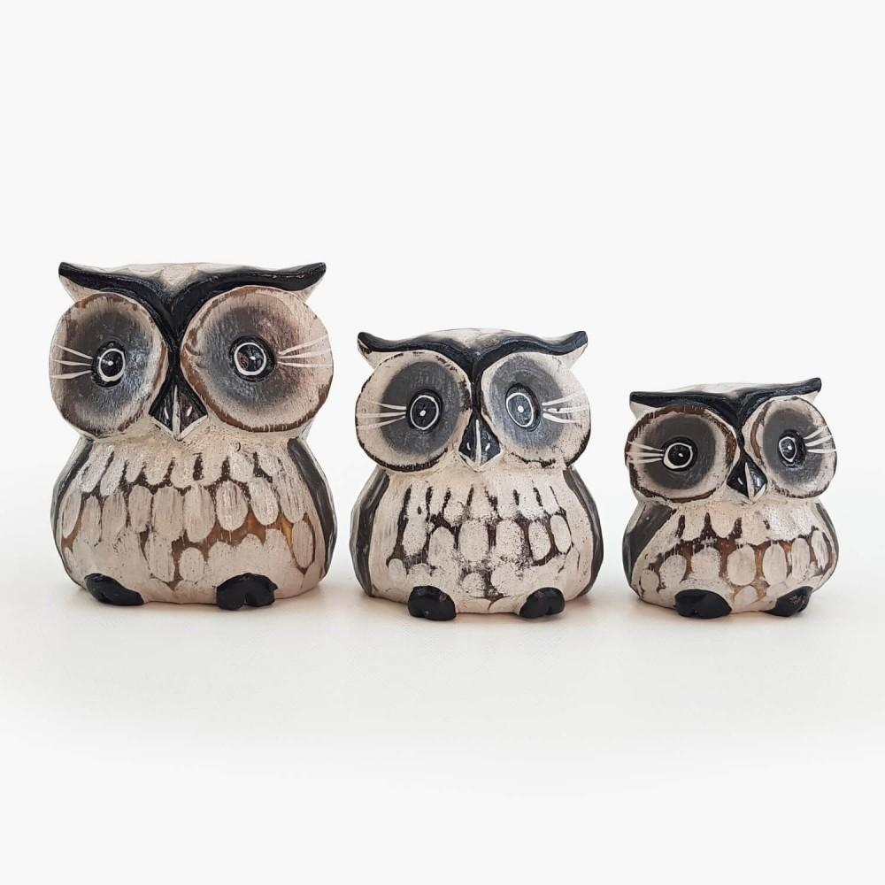 Conjunto 3 esculturas corujas  - Foto 2