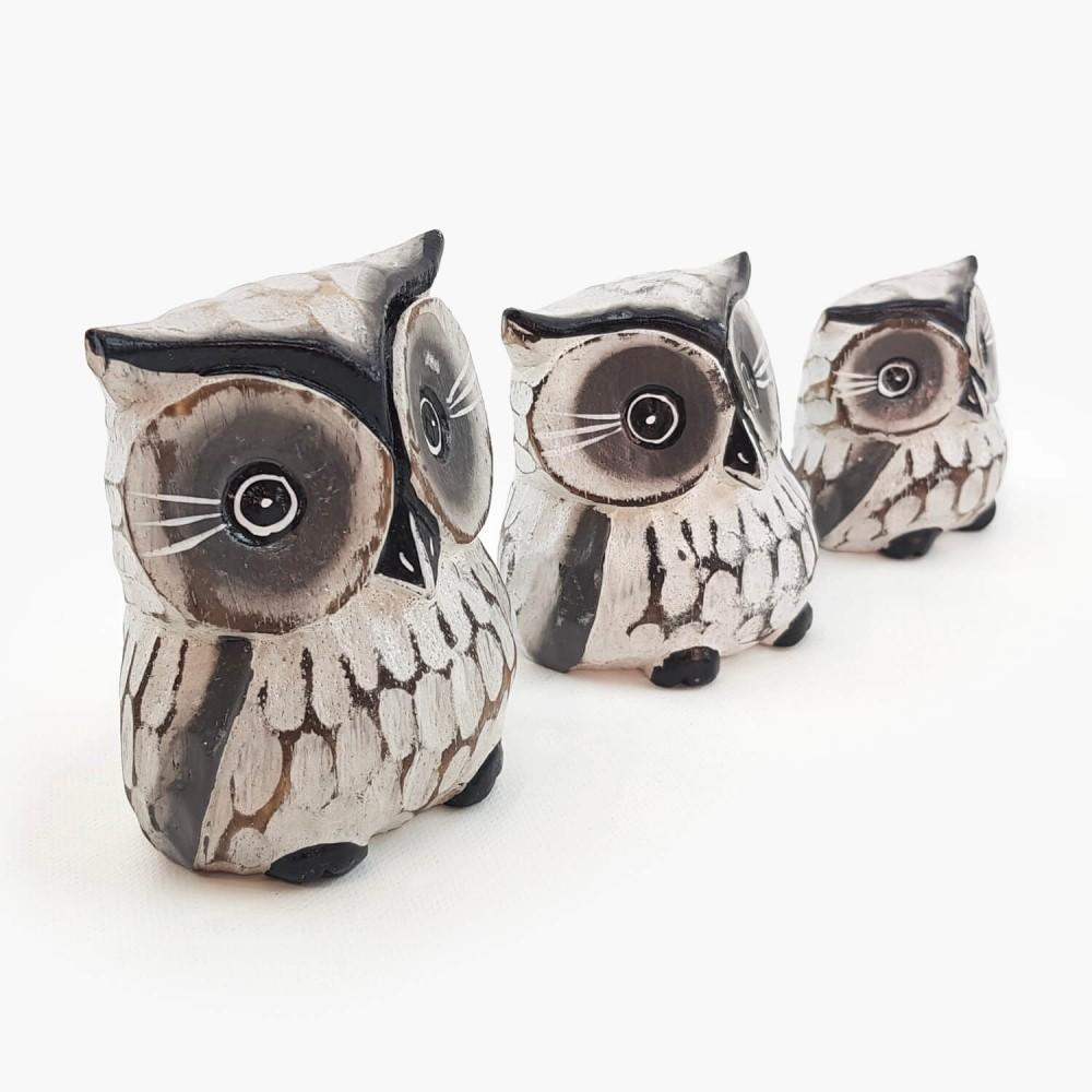 Conjunto 3 esculturas corujas  - Foto 3
