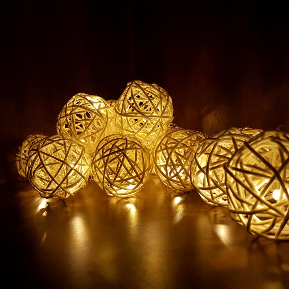 Cordão Luminária 20 lâmpadas - Bege - Foto 1