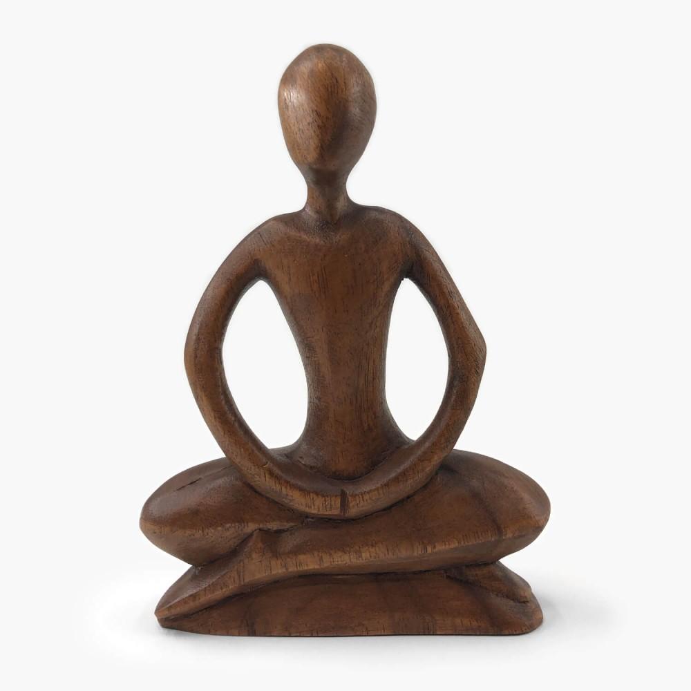 Escultura de Madeira Meditação  - Foto 1