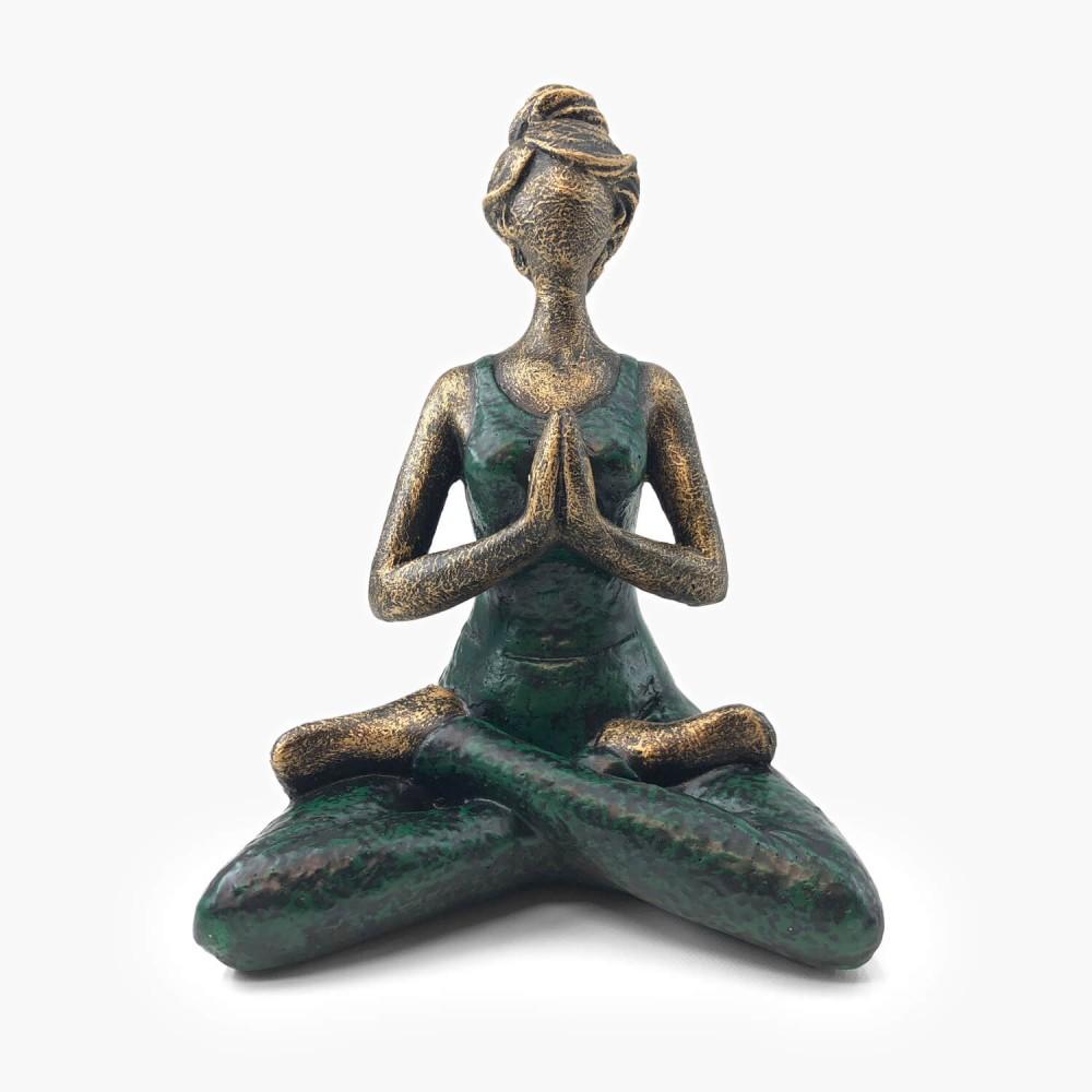 Estátua Yoga Dourado e Verde - Foto 1