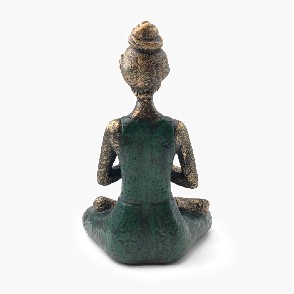 Estátua Yoga Dourado e Verde - Foto 3