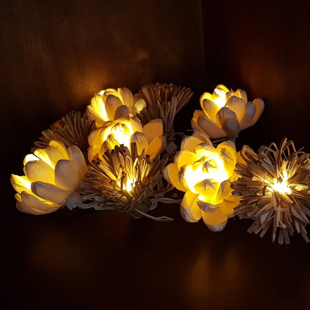 Cordão Luminária Flores Mix - 20 lâmpadas  - Foto 1