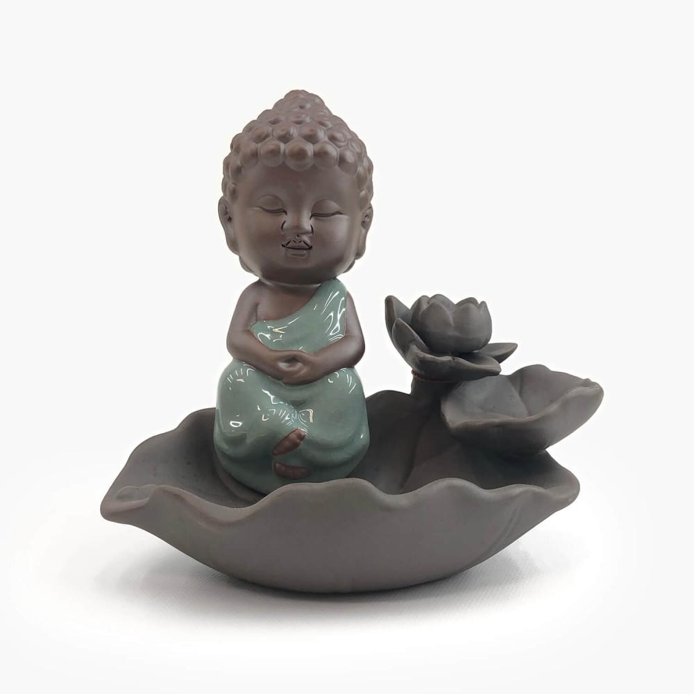 Incensário Buda Efeito Cascata 16cm - Foto 1