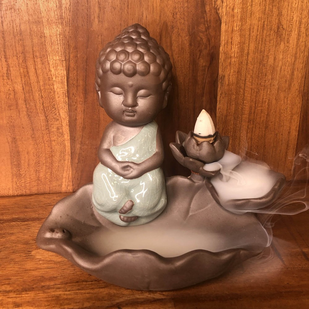 Incensário Buda Efeito Cascata 16cm - Foto 2