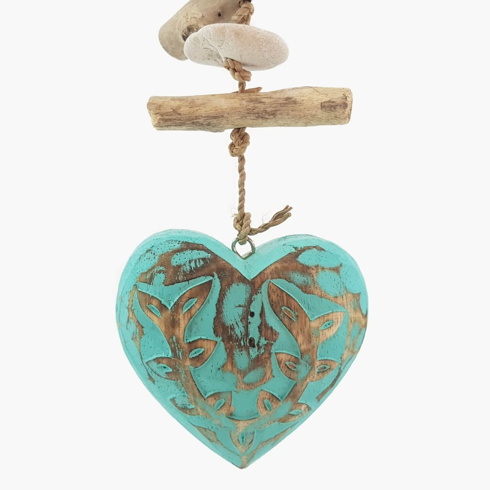 Móbile Coração Turquesa - 35cm  - Foto 1