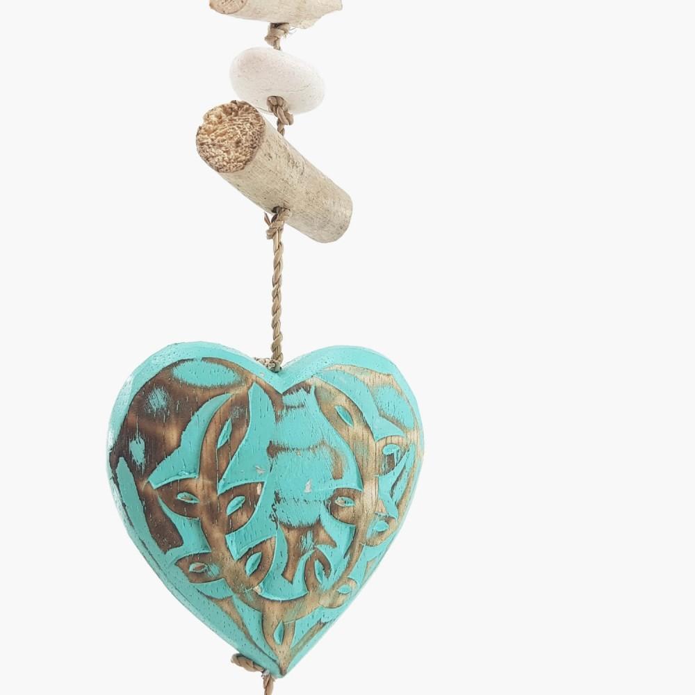 Móbile Coração Turquesa - 60cm  - Foto 1