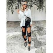 Calça Jeans Escura Destroyed