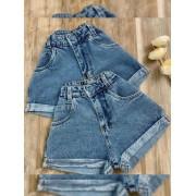 Short jeans Maluky botão forrado