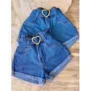 Short Jeans Maluky Cinto Coração New Year