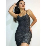 Vestido Lurex Alça