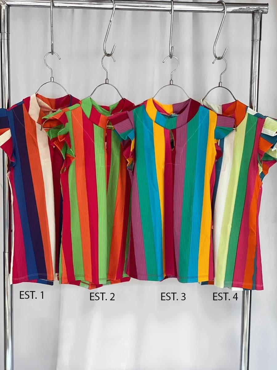 Blusa Babado Canelado Color 09