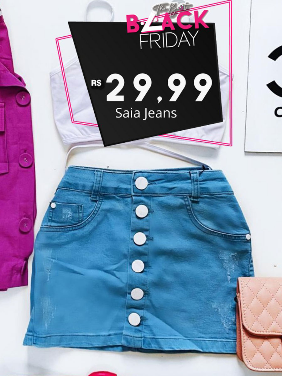 Mini Saia Jeans Botão