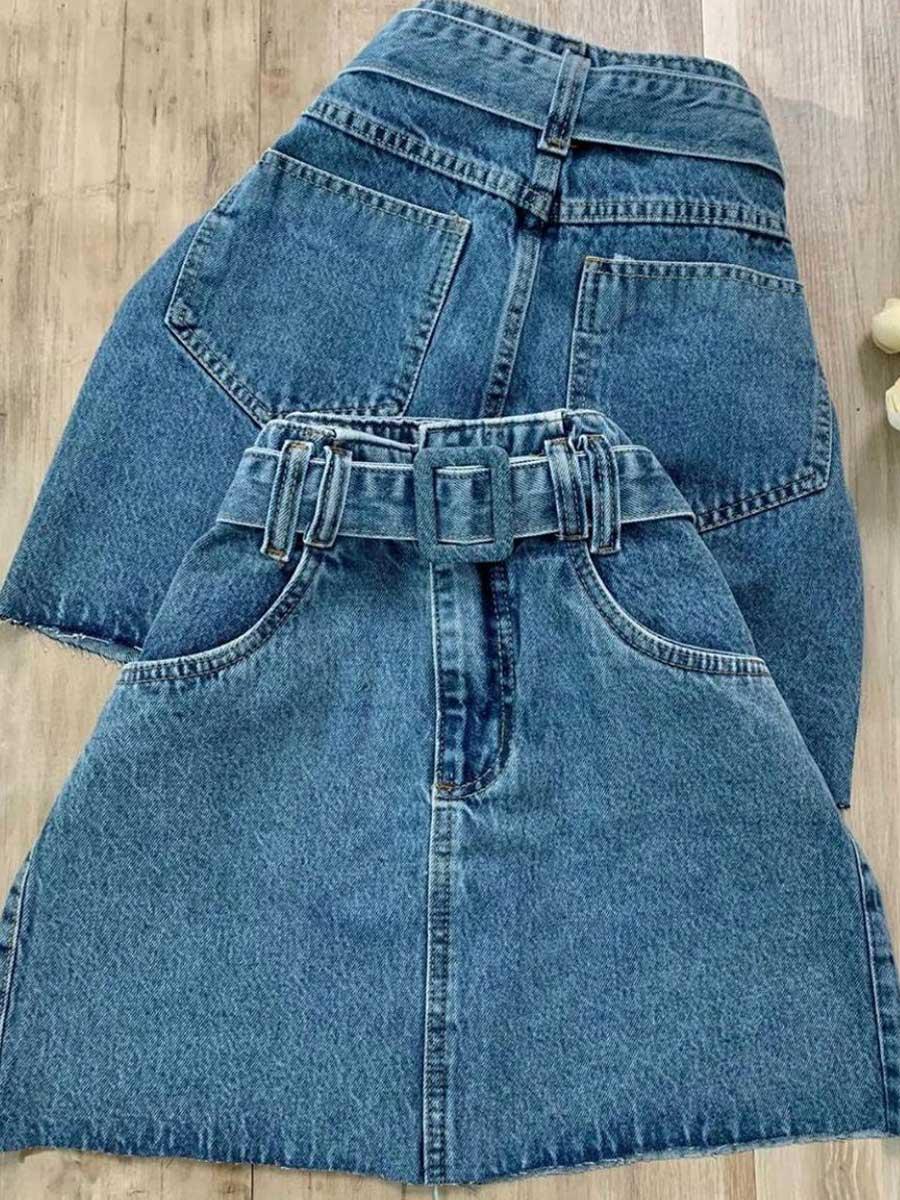 Saia Jeans Fivela Maluky