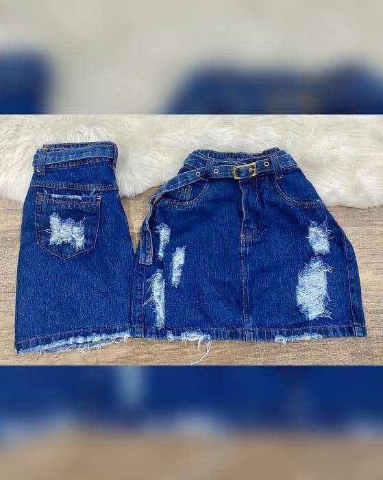Saia Jeans Maluky Fivela Dourada
