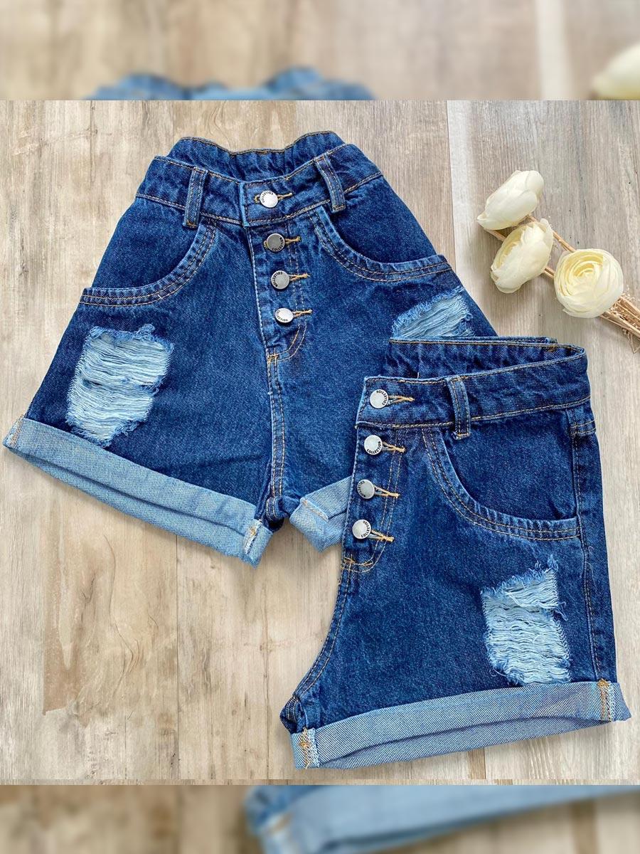 Short Jeans Botões Maluky