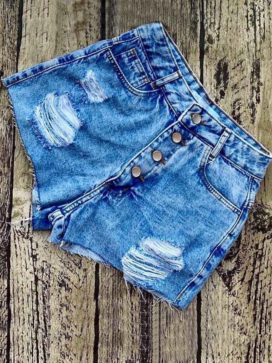 Short Jeans Maluky Botões Metal