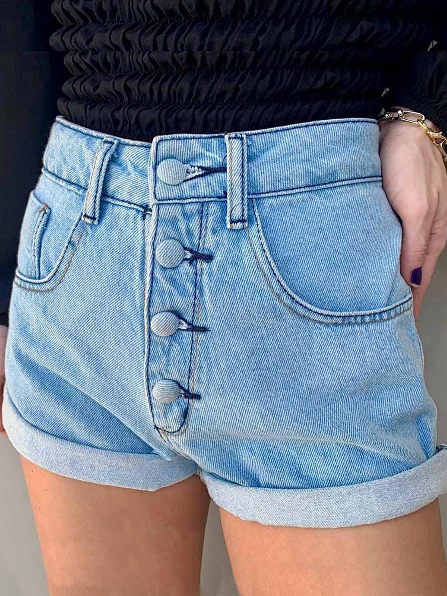 Short Jeans Maluky Claro 4 Botões