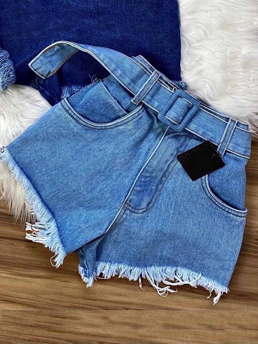 Short Jeans Maluky Fivela Forrada Desfiada