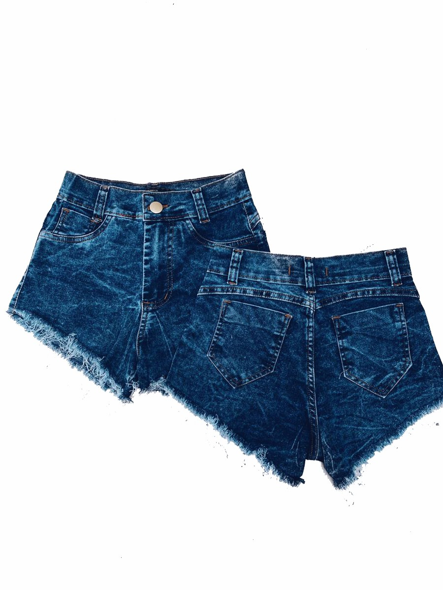 Short Jeans Midi Marmorizado