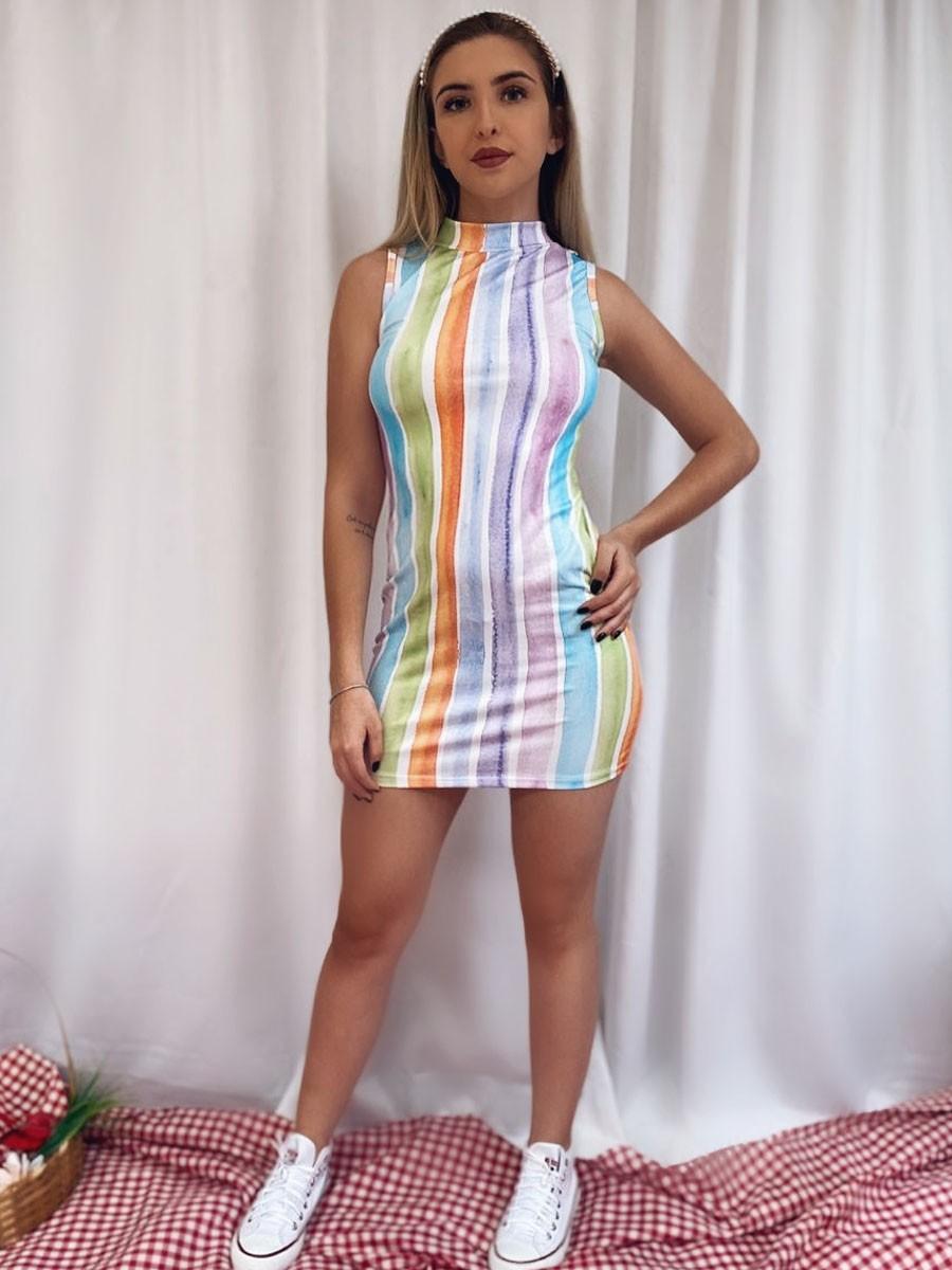 Vestido Malha Arco Íris