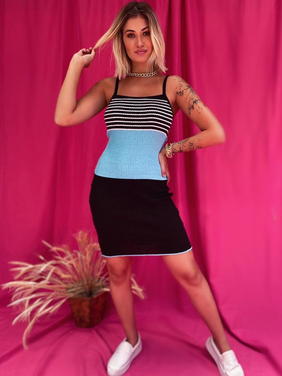 Vestido Tricô Listrado