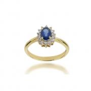 Anel Safira e Diamantes Ouro 18k
