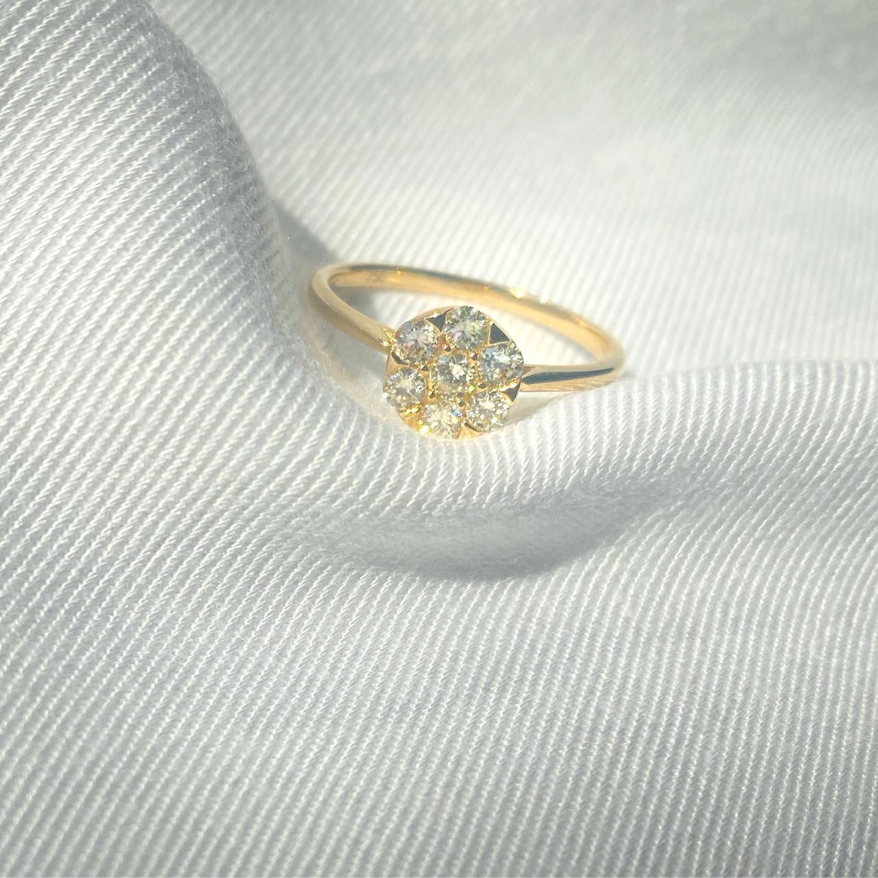 Anel Chuveiro de Diamantes Ouro 18k