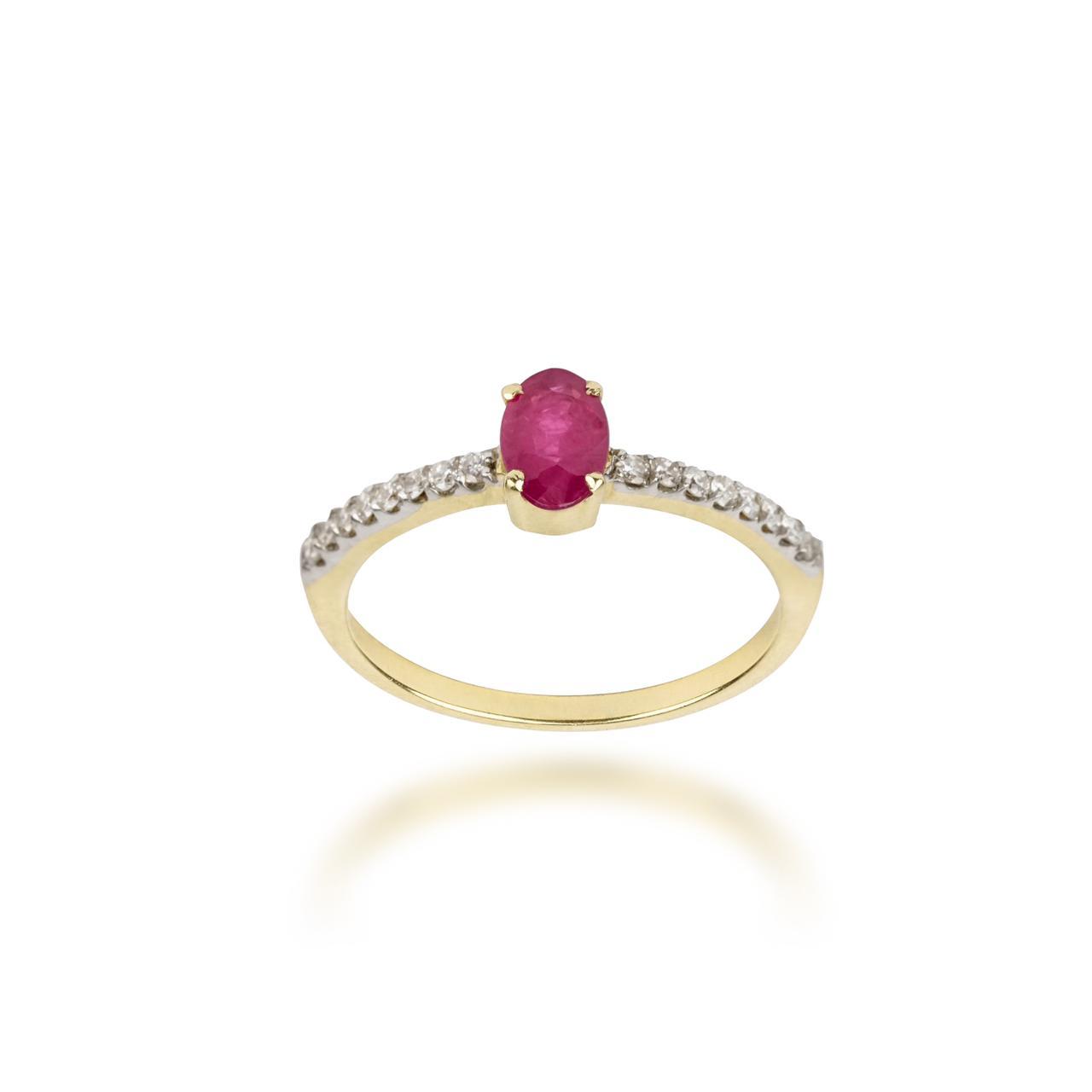 Anel Rubi e Diamantes em Ouro 18k