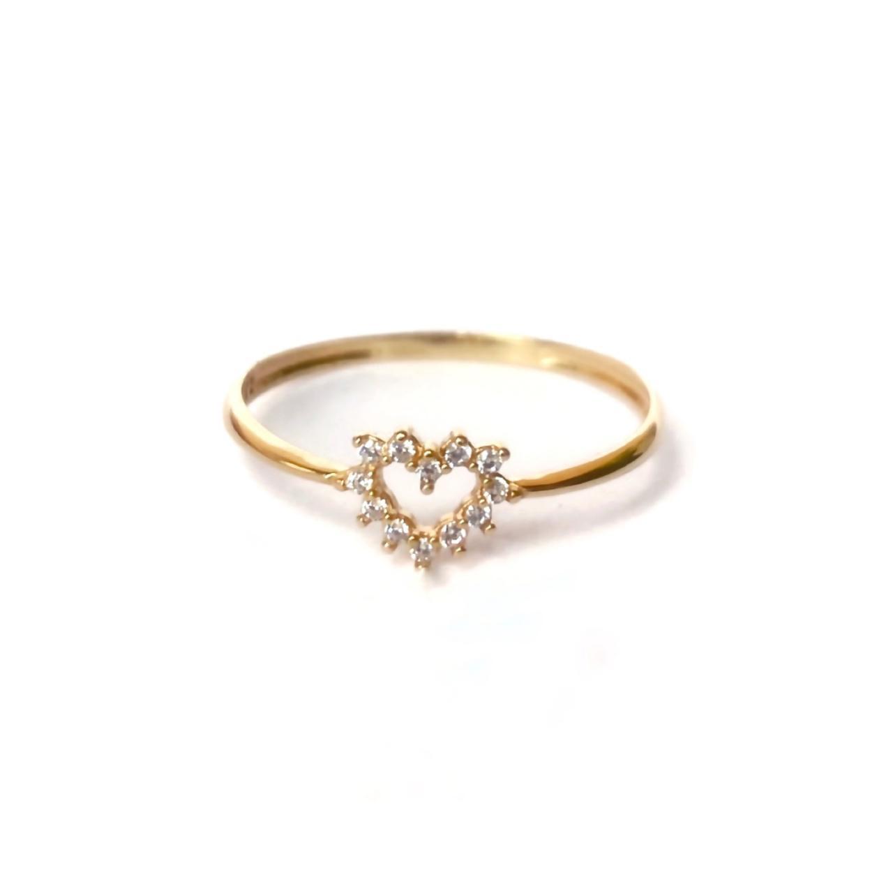 Anel Coração com Zircônias em Ouro 18k