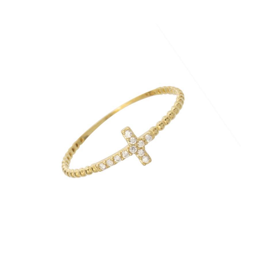 Anel Crucifixo Ouro 18k e Zircônias