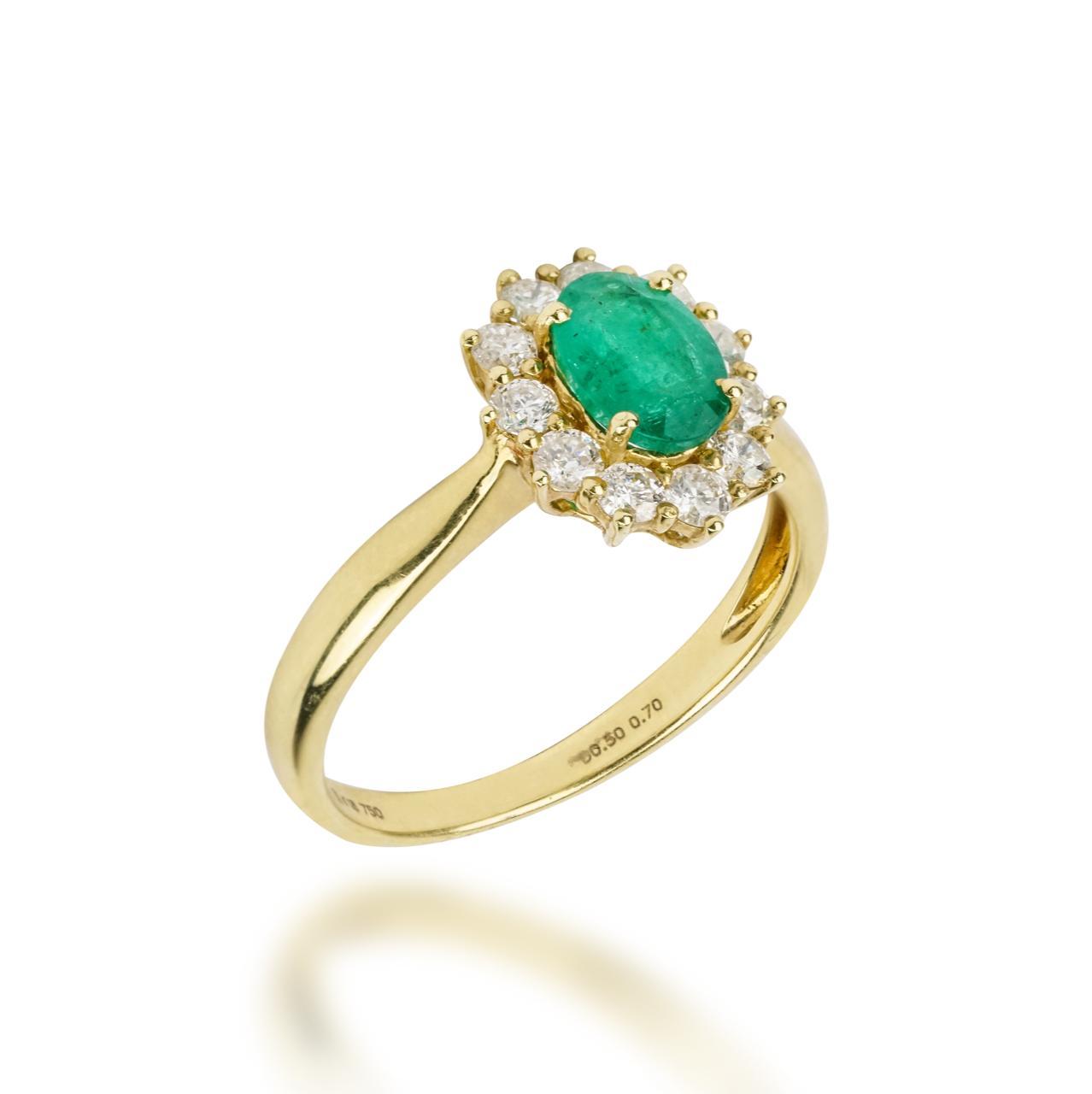 Anel Esmeralda e Diamantes Ouro 18k