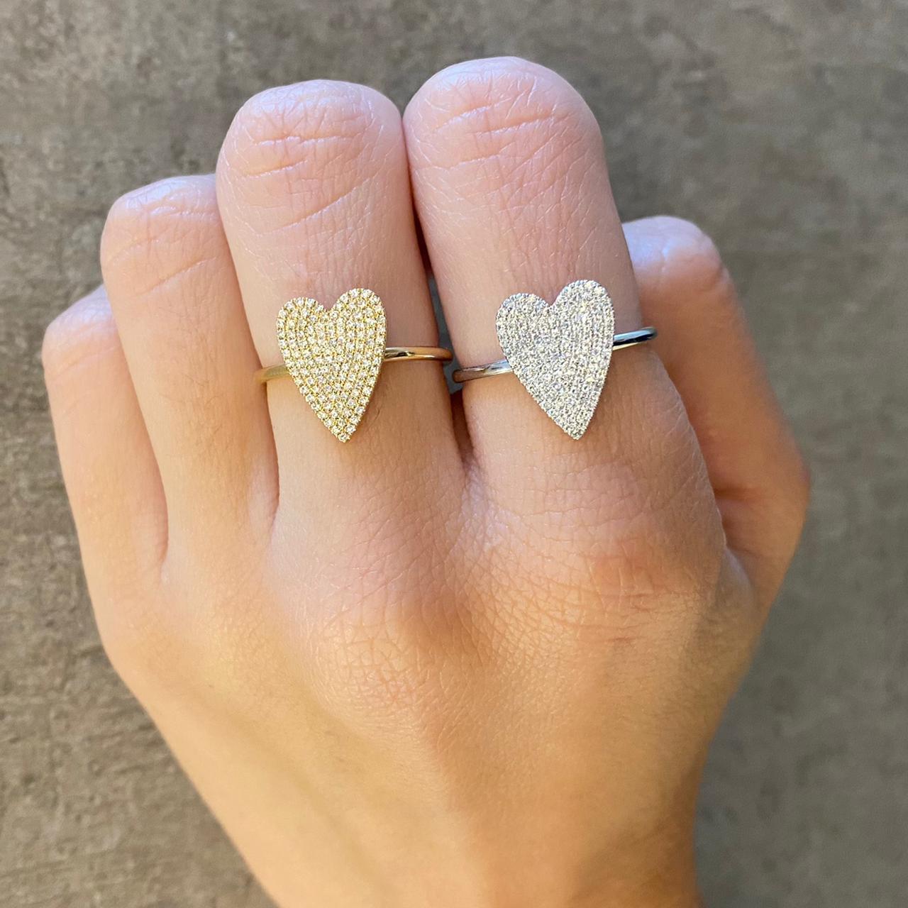 Anel Jumbo Heart Diamantes Ouro branco 18k