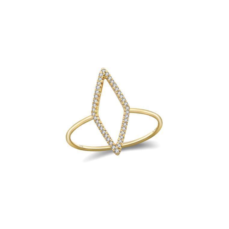 Anel Losango em Ouro 18k com Diamantes
